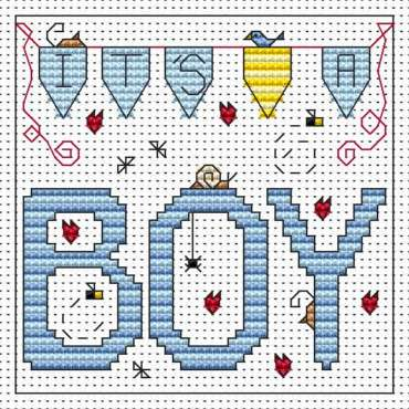 Fat Cat Cross stitch card kit Snowman with Blue Topiary